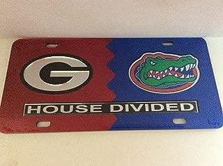 Georgia Bulldogs/ Florida Gators House Divided Laser Cut License Plate Tag