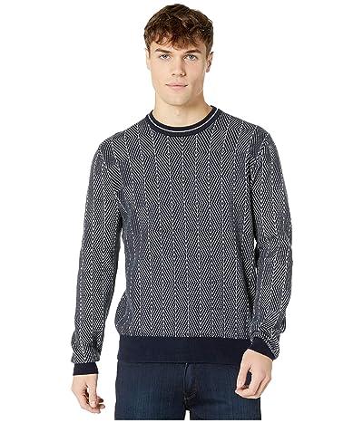 Ben Sherman Diamond Jacquard Crew Sweater (Dark Navy) Men