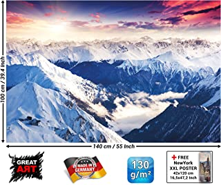 Poster – Alps Panorama Mural – Decoration Winter Sunset Snow Landscape Nature Mountains Glacier Ground Wallposter Photoposter Wall Mural (55 x 39.4 Inch/ 140 x 100cm)