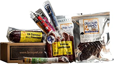 Exotic Meat Gift Box (Exotic Jerky Gift) Jerky & Meat Sticks & Sausage Sampler - Comes in a Cardboard Box - Exotic Meat Je...