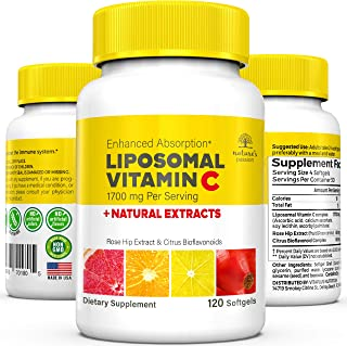 Nature's Passion Liposomal Vitamin C - 1700mg Liposomal VIT C Immune Booster with Natural Rosehip Extract &...
