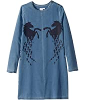 Chloe Kids - Denim Dress w/ Large Horses (Big Kids)