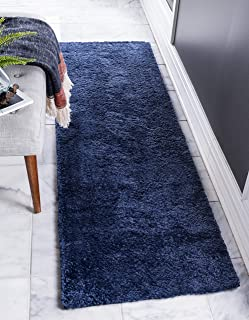 Unique Loom Solo Collection Solid Plush Kids Navy Blue Runner Rug (2' 2 x 6' 7)