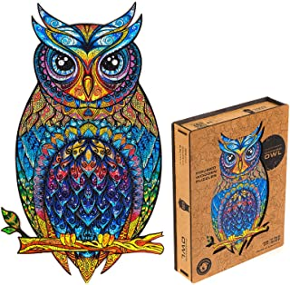 Unidragon Wooden Puzzle Jigsaw, Best  Adults and Kids, Unique Shape Jigsaw Pieces Charming Owl, 9.9 x 17.1 inches, 330 Pie...