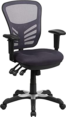 Flash Furniture HL-0001-DK-GY-GG Mid-Back Dark Gray Mesh Multifunction Executive Swivel Ergonomic Office Chair with Adjustable Arms