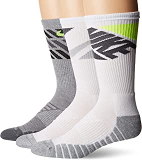 Everyday Max Cushion Crew Training Sock, Unisex Nike Socks with Sweat-Wicking Dri-FIT technology, Multi-Color (3 Pair), L