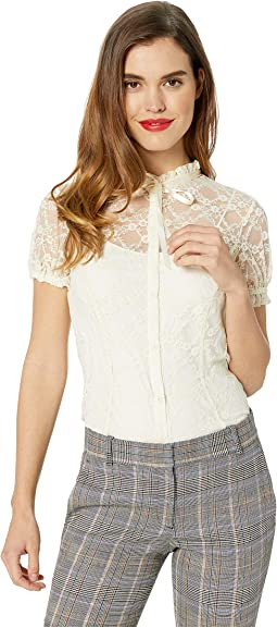 Lace Button Up Short Sleeve Lilette Blouse