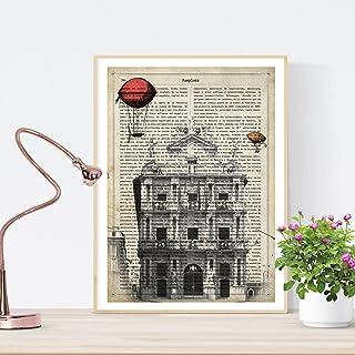 Nacnic Lámina Ciudad de Pamplona. Estilo Vintage. Ilustraci