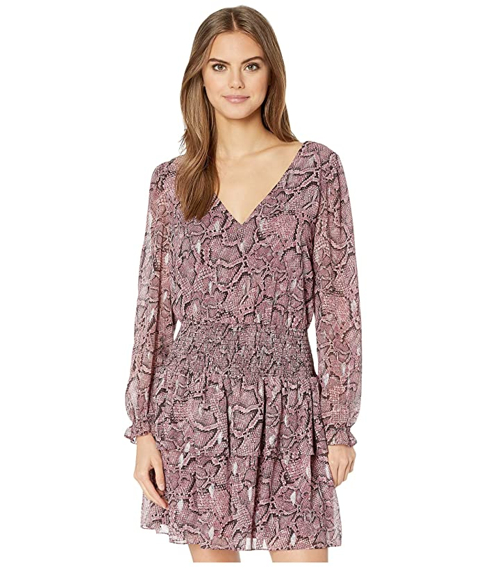 1.STATE  Long Sleeve Smocked Waist Snake Print Dress (Mahogany) Womens Dress