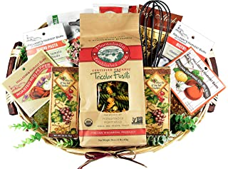 The Vineyard - Gourmet Italian Gift Basket with Montebello Pasta, Italian Seasonings in Classic Wooden Tray, 8 Pounds