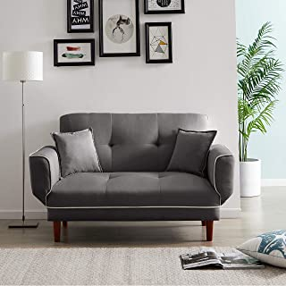Convertible Futon Sofa Bed with 2 Pillows, Small Loveseat Sleeper Sofa Futon Couch, Recliner Couch with Adjustable Armrest...