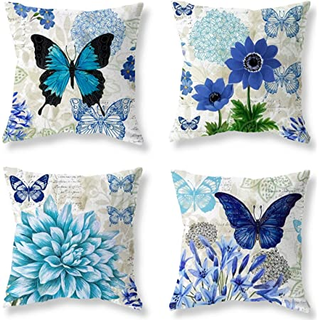 Amazon Com Doliving Farmhouse Butterfly Pillow Cover 18 X 18 Blue Butterfly Theme Decoration Throw Pillow For Couch Bedroom Home Kitchen