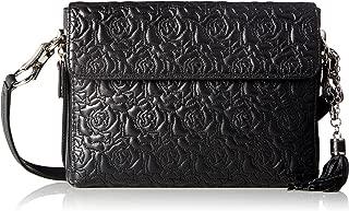 Gun Tote'n Mamas Concealed Carry Rose Embroidered Lambskin Cross-Body Shoulder Bag, Black, Medium