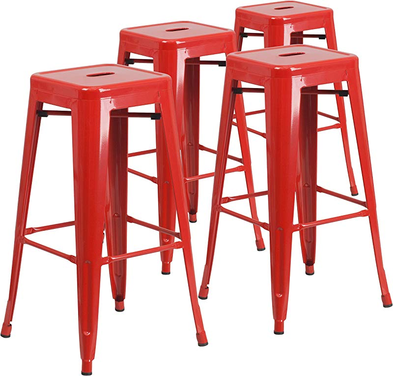 Flash Furniture 4 Pk 30 High Backless Red Metal Indoor Outdoor Barstool With Square Seat