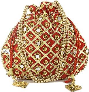 Kuber Industries Silk Traditional Mirror Work Clutch Potli Batwa Pouch Bag for Women/Girls (Red)-KUBMART11487