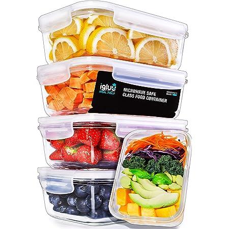 Igluu Meal Prep - [Lot de 5] Boîtes alimentaires en verre pour préparation des repas - Réutilisables, sans BPA - Compatibles Micro-ondes, lave-vaisselle, four et congélateur - Couvercle hermetique