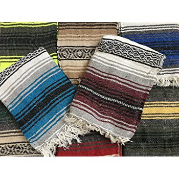 MEXIMART Yoga Blanket Hand Woven Authentic Mexican Falsa in Assorted Random Color (6'X4)