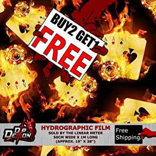 Lm Wild Burning Flaming Aces Flames Fire Hydrographic Water Transfer Film Hydro Dipping Dip