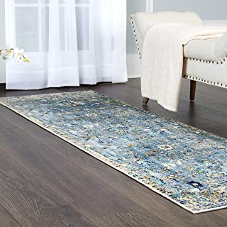 """Home Dynamix Shabby Chic Heritage Hosking 37-705 Runner Area Rug 2'2""""x7'2"""", Vintage/Distressed Bohemian Gray/Blue"""
