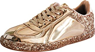Womens Sneaker Flats Metallic Leather Glitter Fashion Sneakers Shoes Lace Up