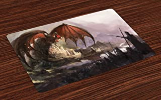 Lunarable Dragon Place Mats Set of 4, Medieval Fantasy Dragon and Dark Knights Scene with Fortress Castle Mystical, Washable Fabric Placemats for Dining Table, Standard Size, Coral Grey
