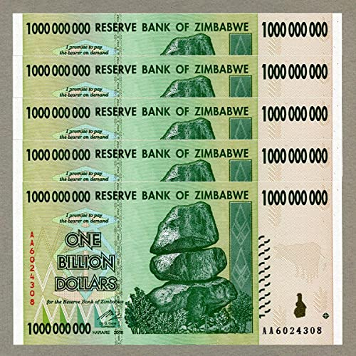 RBZ Zimbabwe 1 Billion Dollars x 5 pcs AA 2008 P83 Consecutive UNC Currency Bills