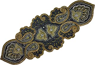 Linen Clubs Hand Made Beaded Table Runner 13x36 Inch in Mini Paisley Design Charcoal Silver Gold Colors,Produced by Skilled Village Artisans in India - A Beautiful Complements to Dinner