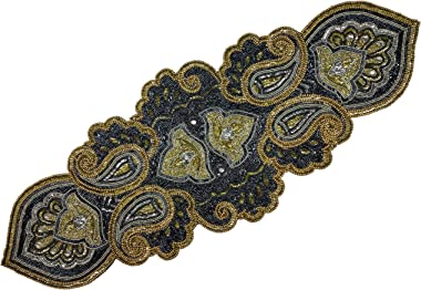 Linen Clubs Hand Made Beaded Table Runner 13x36 Inch in Mini Paisley Design Charcoal Silver Gold Colors,Produced by Skilled V
