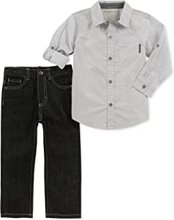 Calvin Klein Baby Boys 2 Pieces Shirt Pant Set