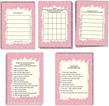 Bridal Shower Games| 5 fun games|50 sheets each| He said She Said|Advice for Bride|Bridal Bingo|How well do you know the Bride?|Date Night Ideas|Pretty pink border