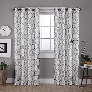 Amazon Com Lush Decor Edward Trellis Curtains Room Darkening Gray Window Panel Set For Living Dining Bedroom Pair 84 X 52 Home Kitchen
