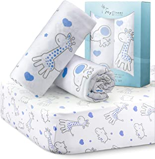MYDEANI Fitted Crib Sheets Set 2 Pack, 100% Cotton, with Animals Prints in Gray and Blue