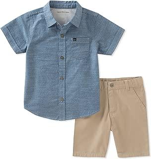 Calvin Klein 男孩2件衬衫短裤套装