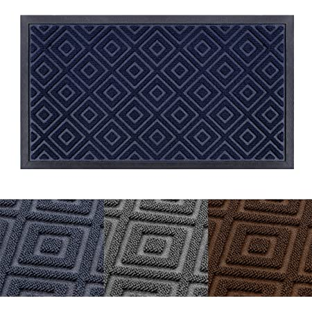 """Welcome Mats for Front Door - 29.5""""x17"""" Durable Outdoor Indoor Entry Rug Low-Profile Entrance Mat with Durable Non-Slip Rubber Backing for High Traffic Areas, Navy Blue"""