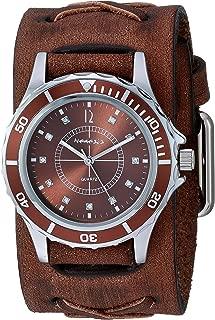 Nemesis Bella Stainless Steel Analog-Quartz Leather Strap, Brown, 37.8 Casual Watch (Model: BFXB092B