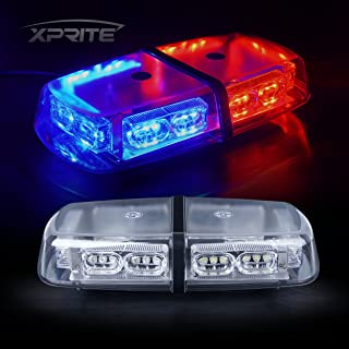 Xprite Gen 3 Red Blue 36 LED 18 Watts Roof Top Hign Intensity Law Enforcement Emergency Hazard Warning LED Mini Bar Strobe Light with Magnetic Base