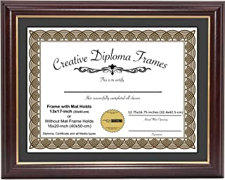Two 12x16 openings diploma frame top black studio cherry with bead frame