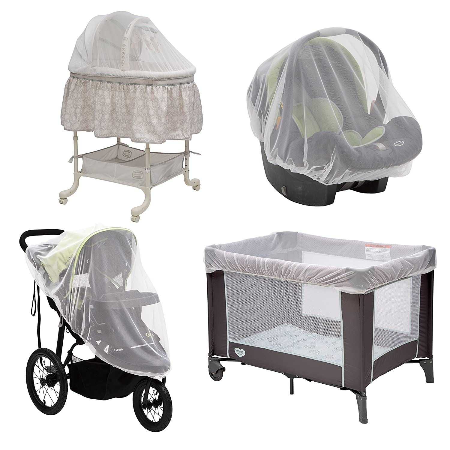 Baby Mosquito and Bug Nets for Strollers & Joggers, Pack n' Plays, Infant Car Seats & Bassinets. 2-Pack. Breathable with Elastic for Easy fit