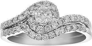 3/4 CT Diamond Channel Prong Wedding Engagement Ring Set 14K Gold