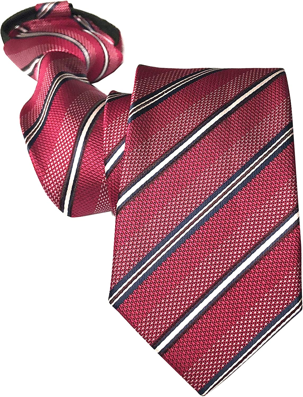 Mens Zipper Tie Skinny Business Wedding Striped Polka Dot Microfiber Pre-tied Necktie