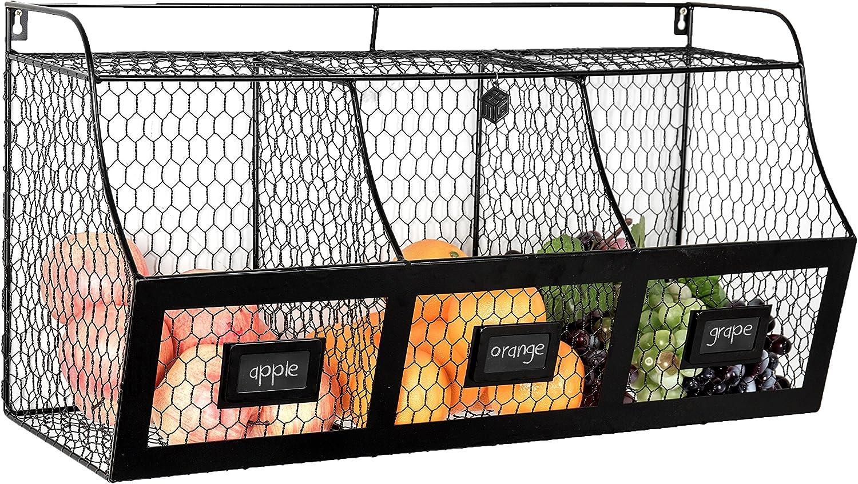 Large Country Rustic Metal Wire Wall Mounted Hanging Fruit Basket Storage Bin w Chalkboard Labels, Black