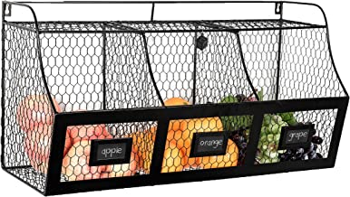 Large Country Rustic Metal Wire Wall Mounted Hanging Fruit Basket Storage Bin w/ Chalkboard Labels, Black