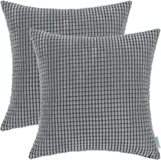 CaliTime Pack of 2 Comfy Throw Pillow Covers Cases for Couch Sofa Bed Decoration Comfortable Supersoft Corduroy Corn Striped Both Sides 26 X 26 Inches Medium Grey