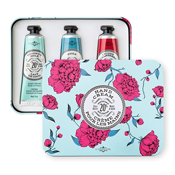 La Chatelaine 20% Shea Butter Hand Cream Trio Tin Gift Set, 3 x 1 oz. (Coconut Milk, Shea, Lychee Cranberry)