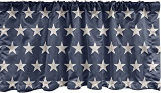 Ambesonne Star Window Valance, Patriotic Star of The American Flag Independence Themeds of Freedom, Curtain Valance for Ki...