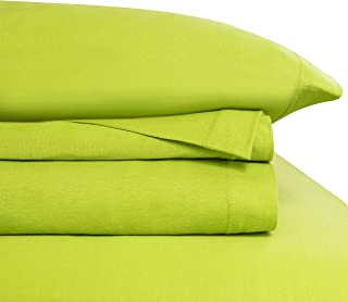 Baltic Linen Jersey Cotton Sheet Set Cal King Lime Green 4-Piece Set