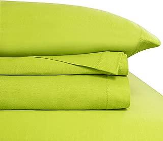 Baltic Linen Jersey Cotton Sheet Set Twin Lime Green 3-Piece Set