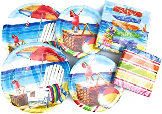 Beach Theme Paper Plates and Napkins Set - Very Cute and Durable Beach Theme Set of 32 Paper Plates and 32 Napkins - Great Value