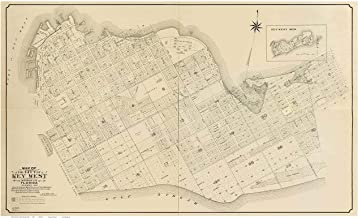 Key West - Monroe County Florida 1906 - Wall Map with lot Lines some Homeowner &business names - Genealogy Old Map Reprint