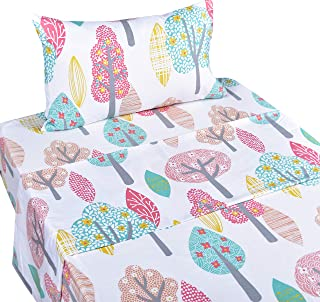 Scientific Sleep Cute Forest Trees Cotton Cozy Twin Bed Sheet Set, Flat Sheet & Fitted Sheet & Pillowcase Bedding Set (14, Twin)
